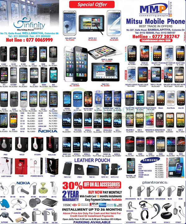 Featured image for Infinity Store (Mitsu) Smartphones & Mobile Phones Price List Offers 11 Nov 2012