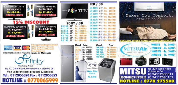 Featured image for Infinity Store (Mitsu) Fridge, Washer & TV Offers 18 Nov 2012