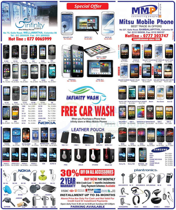 Featured image for Infinity Store (Mitsu) Smartphones & Mobile Phones Price List Offers 4 Nov 2012