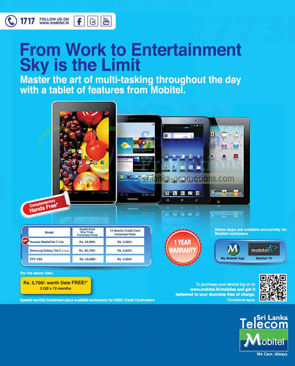 Featured image for Mobitel Tablets Credit Card Promotion Offers Price List 11 Nov 2012