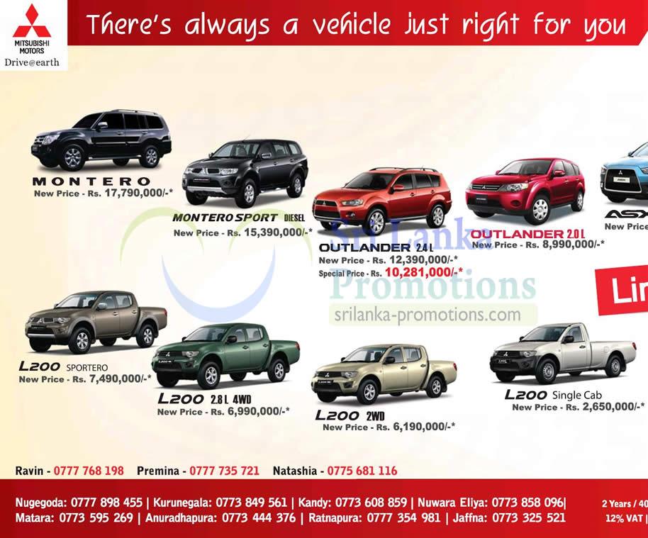 Montero, Outlander 2.4L, L200 Sportero, L200 2WD, L200 Single Cab, Outlander 2.0L, Montero Sport Diesel