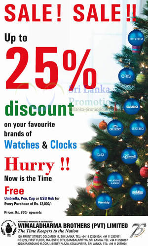 Featured image for Wimaladharma Brothers Up To 25% Off Watches & Clocks 15 Nov 2012