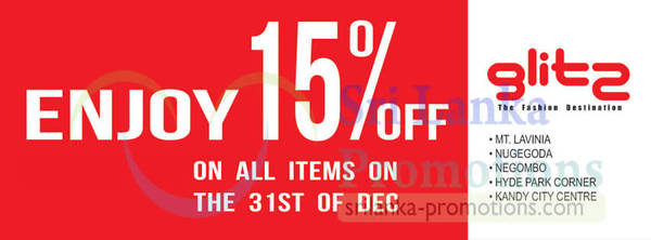 Featured image for Glitz 15% Off Storewide (Including Gift Vouchers) Promotion 31 Dec 2012