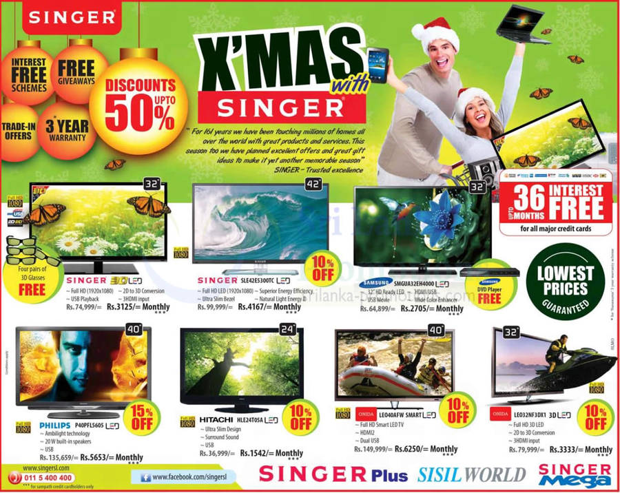 20 Dec Singer, Philips, Samsung, Onida, Hitachi TVs