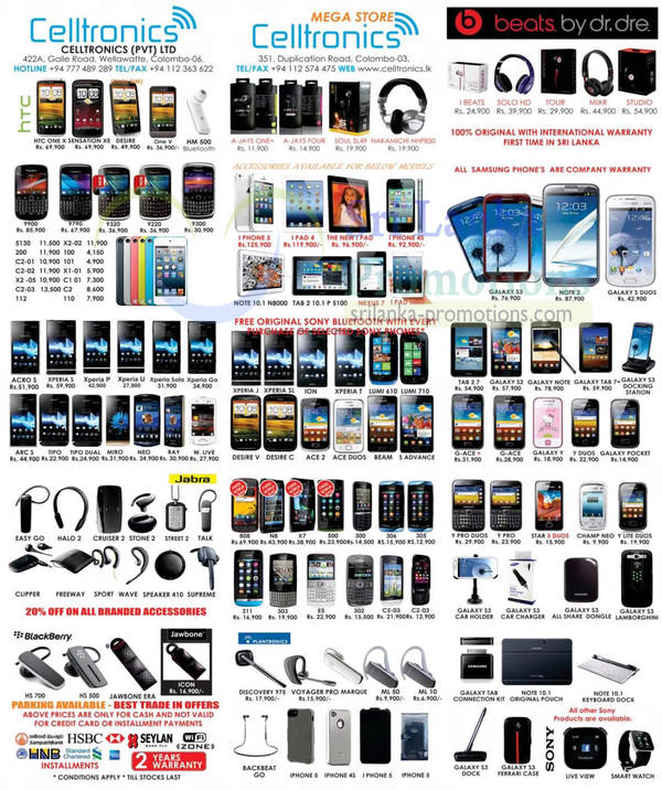Featured image for Celltronics Smartphones & Mobile Phones Price List Offers 2 Dec 2012