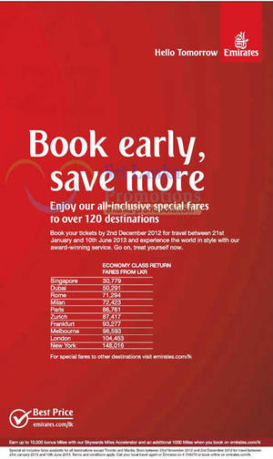 Featured image for Emirates Promotion Air Fares Over 120 Destinations Offer 29 Nov – 2 Dec 2012