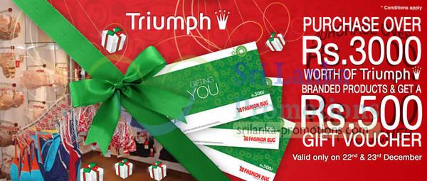 Featured image for Fashion Bug Triumph Free Rs 500 Voucher Promotion 22 – 23 Dec 2012