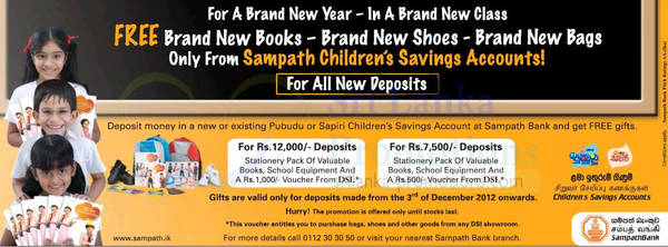 Featured image for Sampath Bank Free Gifts For Opening Child Saving Account 20 Dec 2012