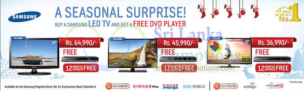 Featured image for Samsung Free DVD Player With LED TV Purchase Promotion 29 Nov 2012