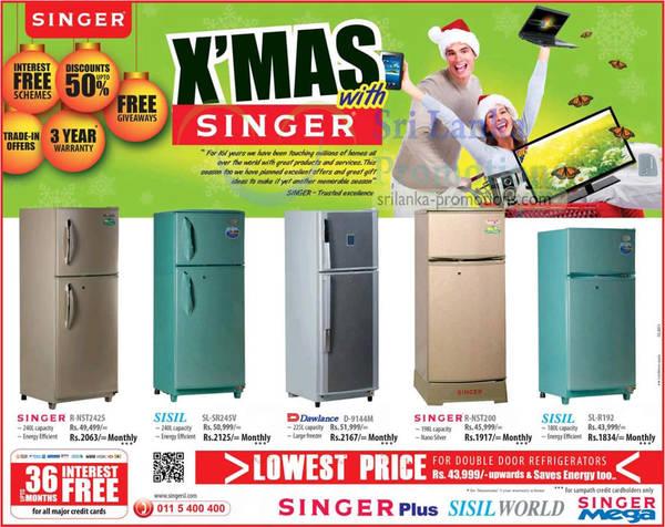 Featured image for Singer Fridge Offers Pirce List 29 Nov 2012