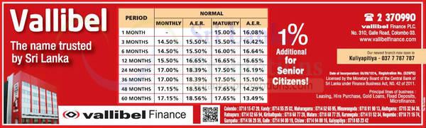 Featured image for Vallibel Fixed Deposit Rates 20 Dec 2012