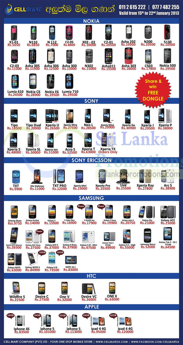Featured image for Cellmart Smartphones & Mobile Phone Offers 15 Jan 2013