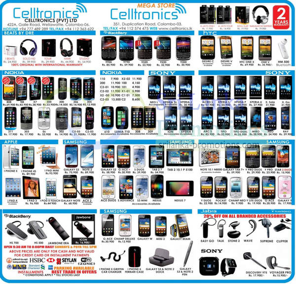 Featured image for Celltronics Smartphones & Mobile Phones Price List Offers 13 Jan 2013