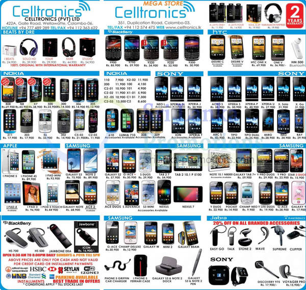 Featured image for Celltronics Smartphones & Mobile Phones Price List Offers 6 Jan 2013