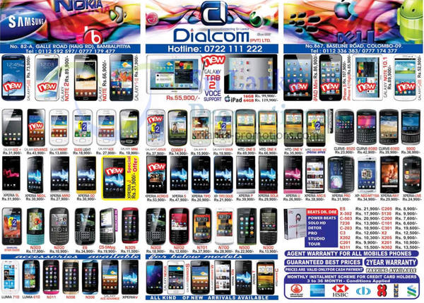 Featured image for Dialcom Smartphones & Mobile Phones Price List Offers 13 Jan 2013