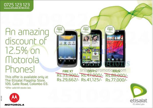Featured image for Etisalat Motorola Mobile Phones 12.5% Off Promotion @ Galle Road 13 Jan 2013