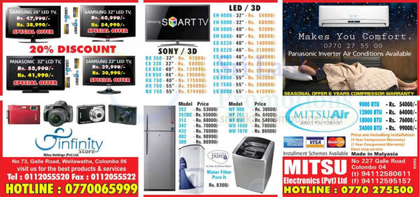 Featured image for Infinity Store (Mitsu) Fridge, Washer & TV Offers 6 Jan 2013
