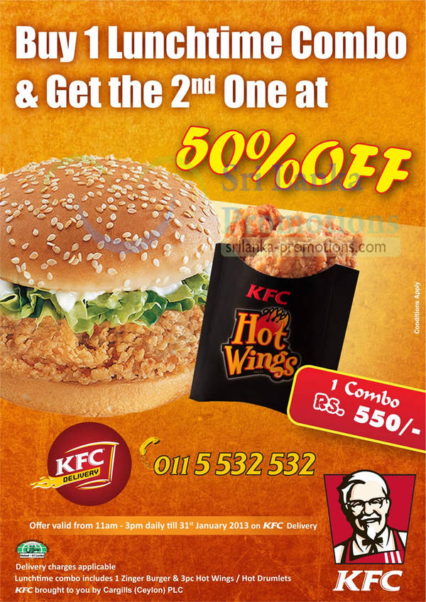 Featured image for KFC 50% Off 2nd Lunchtime Combo 16 – 31 Jan 2013