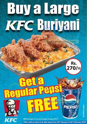 Featured image for KFC FREE Regular Pepsi With Large Chicken Buriyani 29 Jan – 28 Feb 2013