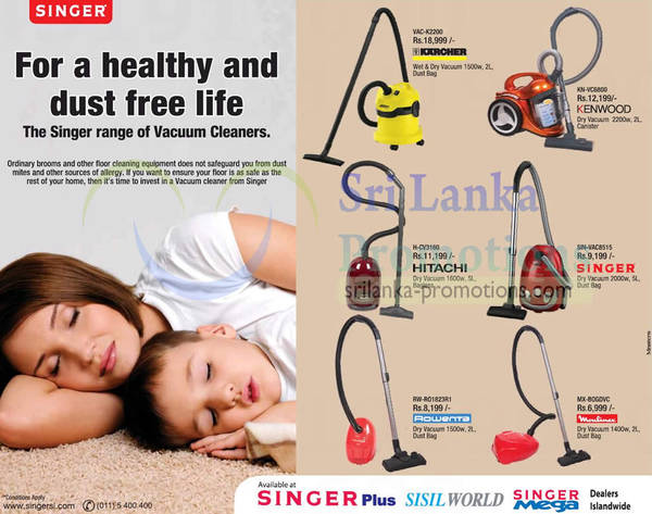 Featured image for Singer Vacuum Cleaners Offers 15 Jan 2013