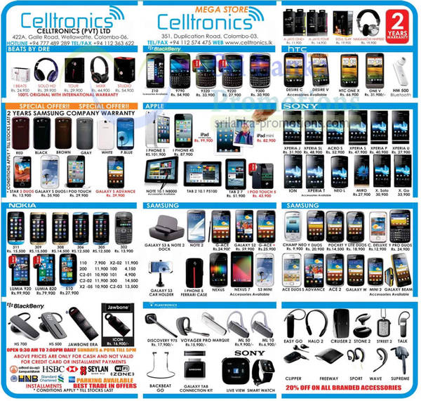 Featured image for Celltronics Smartphones & Mobile Phones Price List Offers 24 Feb 2013