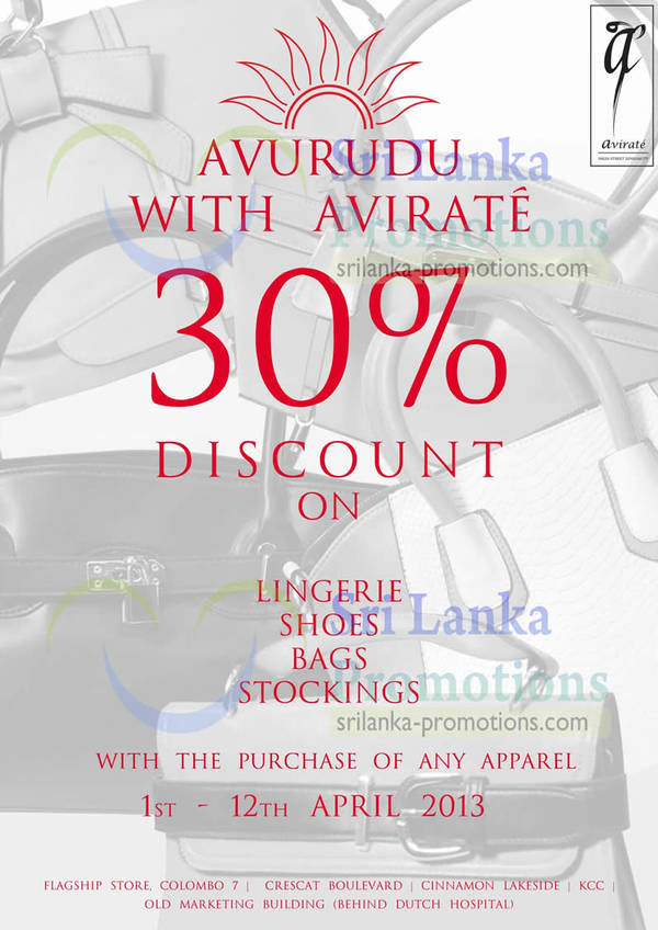 Featured image for Avirate 30% Off On Selected Items Promo 1 – 12 Apr 2013