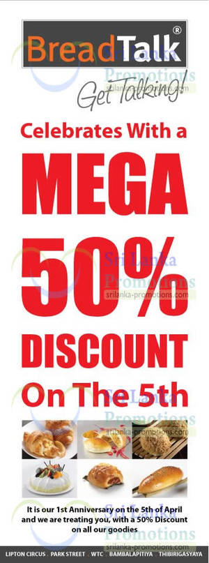 Featured image for BreadTalk 50% Off Storewide Promotion 5 Apr 2013