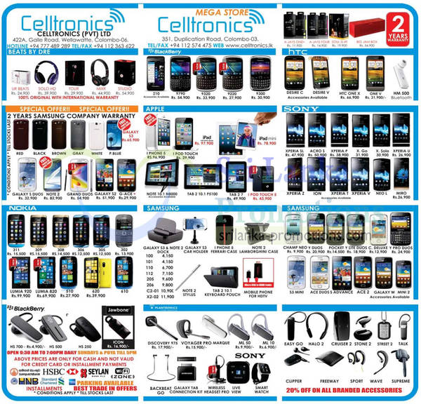Featured image for Celltronics Smartphones & Mobile Phones Price List Offers 24 Mar 2013