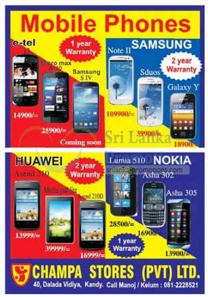 Featured image for Champa Stores Smartphones Price List Offers 24 Mar 2013