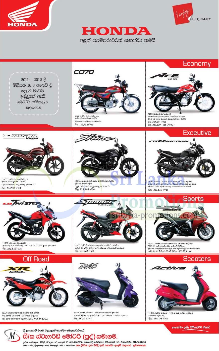 Honda 25 Mar 2013 187 Honda Motorcycles Amp Scooter Price List