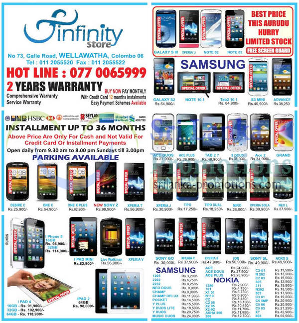 Featured image for Infinity Store Smartphones & Mobile Phones Price List Offers 24 Mar 2013