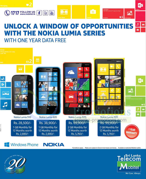 Featured image for Mobitel Nokia Lumia Smartphone Offers & Free One Year Data Offer 24 Mar 2013