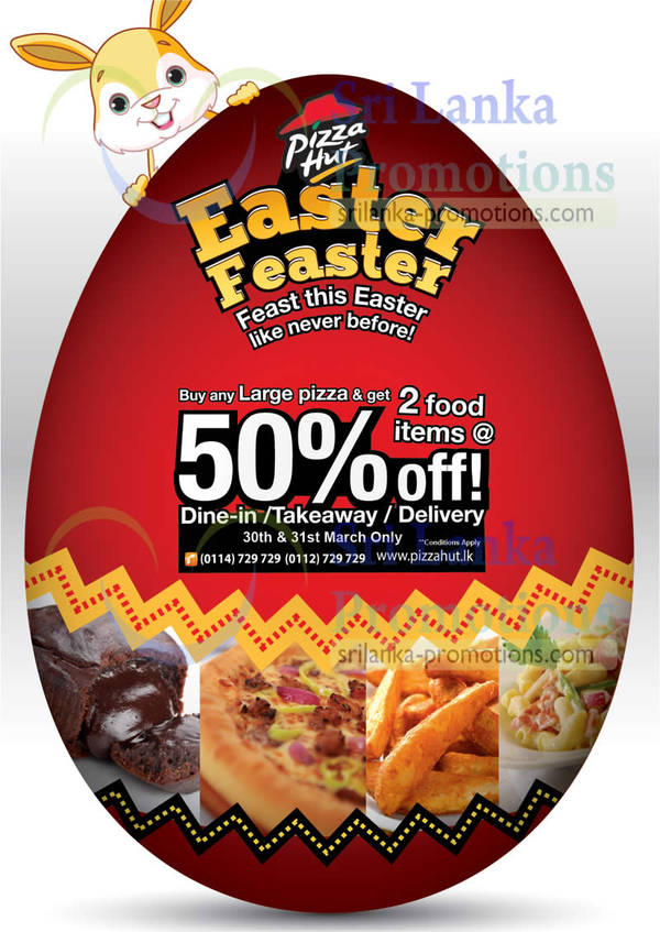 Featured image for Pizza Hut 50% Off Two Food Items With Large Pizza Purchase 30 – 31 Mar 2013