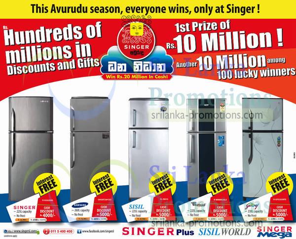 Featured image for Singer, Samsung, Sisil & Godrej Refrigerator Offers 28 Mar 2013