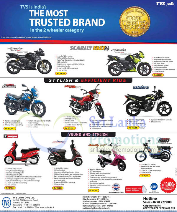 TVS Two Wheeler Motorcycles & Scooter Offers 24 Mar 2013