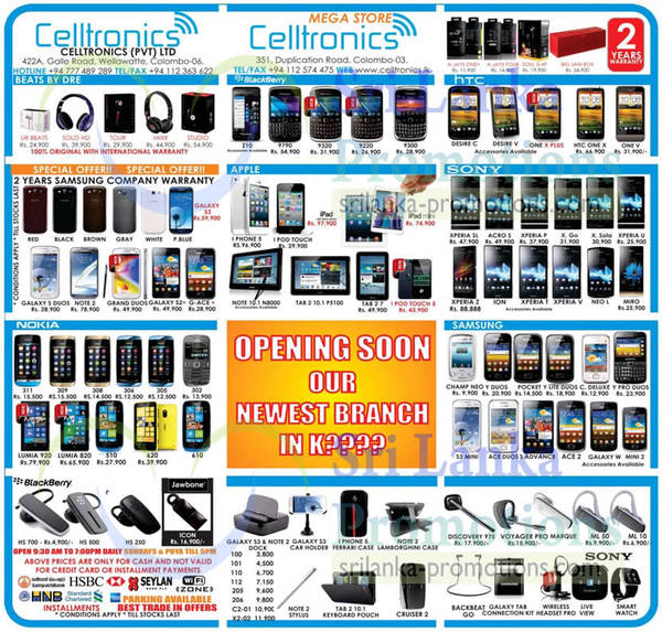 Featured image for Celltronics Smartphones & Mobile Phones Price List Offers 21 Apr 2013