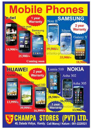 Featured image for Champa Stores Smartphones Price List Offers 21 Apr 2013