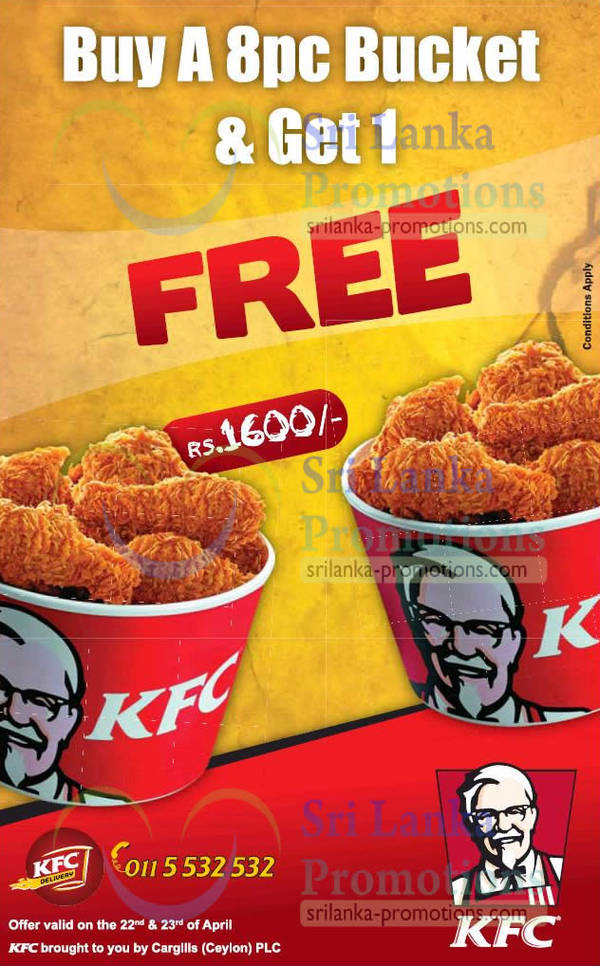 Featured image for KFC 1 For 1 8pc Chicken Bucket Promotion 22 – 23 Apr 2013