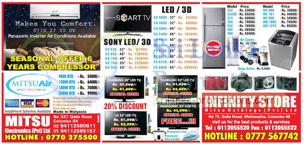 Featured image for Infinity Store (Mitsu) Fridge, Washer & TV Offers 21 Apr 2013