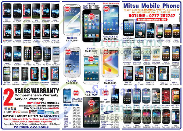 Featured image for Mitsu Mobile Phone Smartphones & Mobile Phones Price List Offers 21 Apr 2013