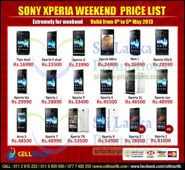 Featured image for Cellmart Sony Smartphones & Mobile Phone Offers 3 May 2013