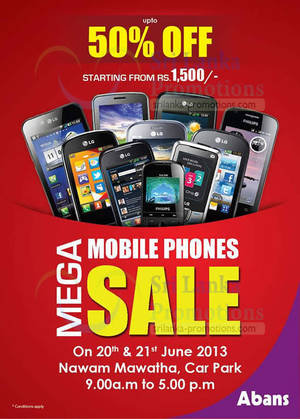 Featured image for Abans Mobile Phones SALE Up To 50% Off @ Nawam Mawatha 20 – 21 Jun 2013