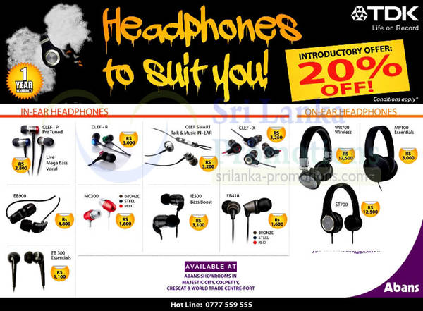 Featured image for Abans TDK Earphones & Headphones 20% Off Offer 21 Jun 2013