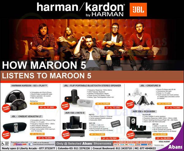 Featured image for Abans JBL Harman Kardon Price List Offers 16 Aug 2013