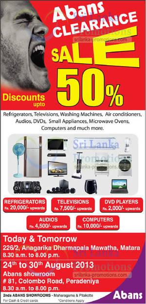 Featured image for Abans Clearance SALE Up To 50% Off @ Two Locations 24 – 30 Aug 2013
