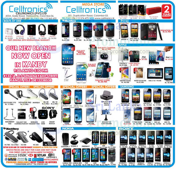 Featured image for Celltronics Smartphones & Mobile Phones Price List Offers 11 Aug 2013