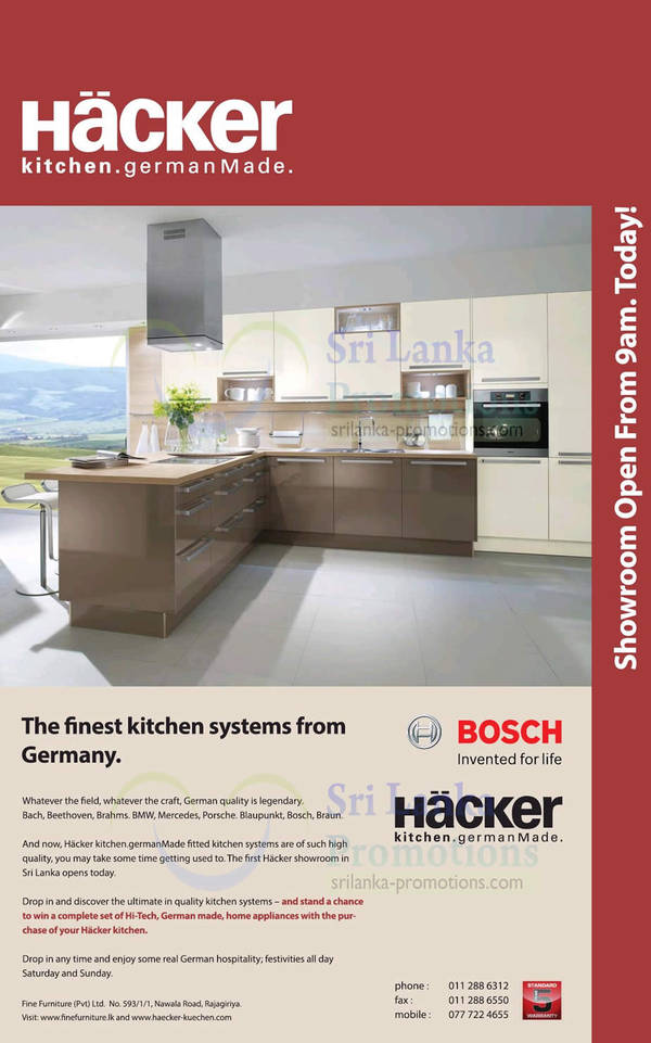 Featured image for Hacker Kitchen Systems (Made In Germany) Showroom Now Open 24 Aug 2013