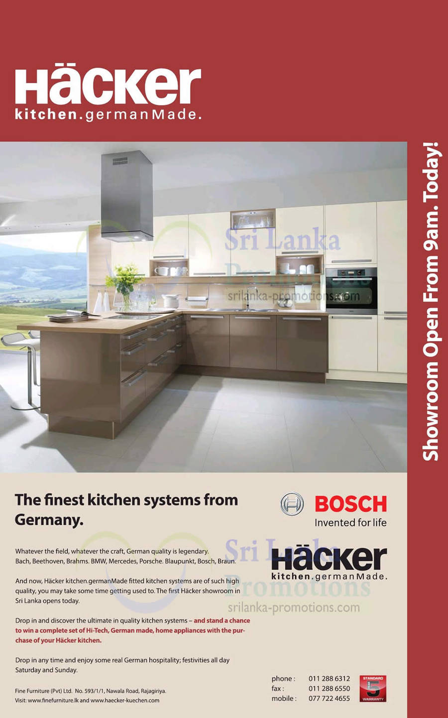 hacker kitchen systems made in germany showroom now open. Black Bedroom Furniture Sets. Home Design Ideas