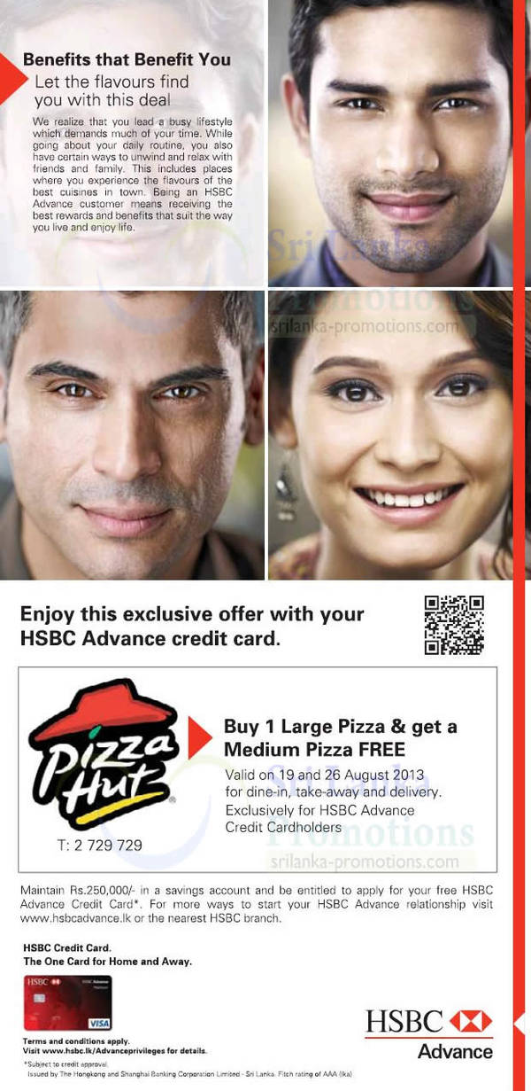 Featured image for Pizza Hut FREE Medium Pizza With Large Pizza Purchase For HSBC Advance Credit Cards 26 Aug 2013