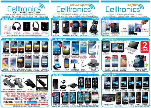 Featured image for Celltronics Smartphones & Mobile Phones Price List Offers 15 Sep 2013